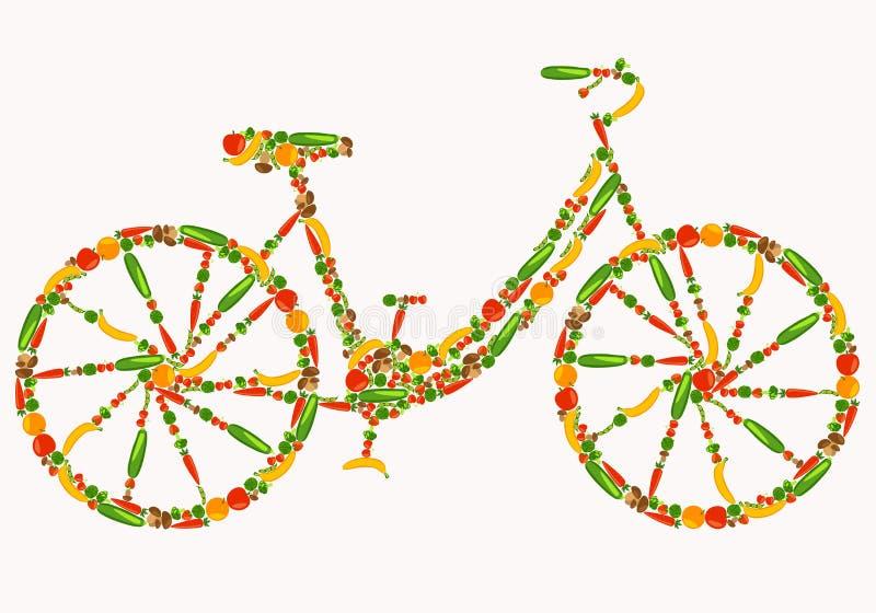 轮子用水果、蔬菜、莓果和蘑菇 向量例证