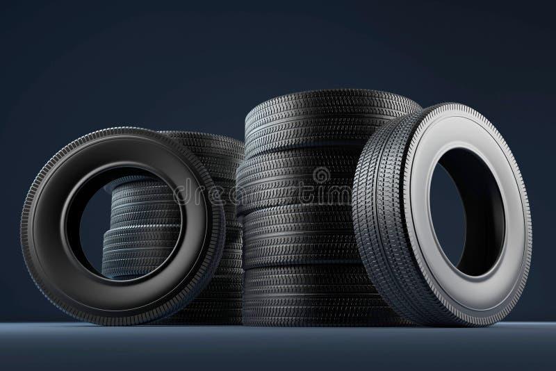 轮子轮胎的图片在高分辨率的 3d柜栏图象牌照 库存例证