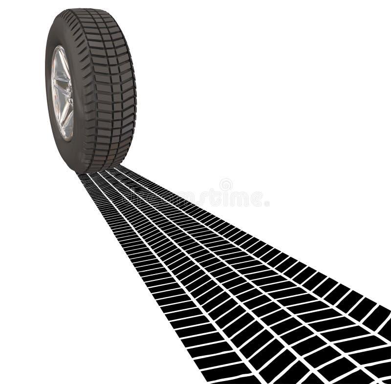 轮子轮胎驾驶运输汽车Automobil的刹车痕轨道 库存例证