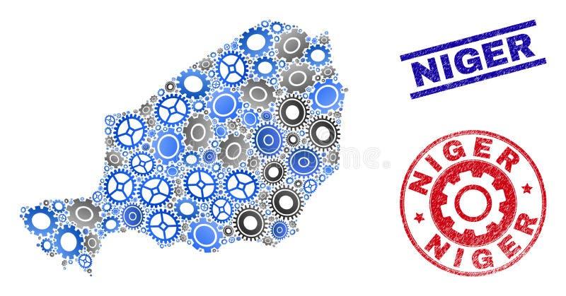 轮子马赛克传染媒介尼日尔地图和难看的东西邮票 向量例证