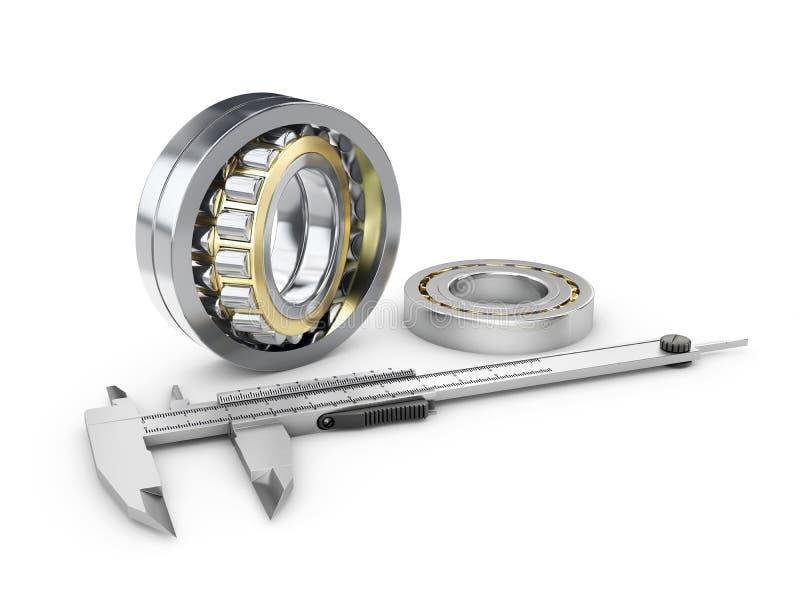 轮尺和齿轮,测量的齿轮轮尺,测量仪器工程师,建筑师,技术员3dr例证 库存图片