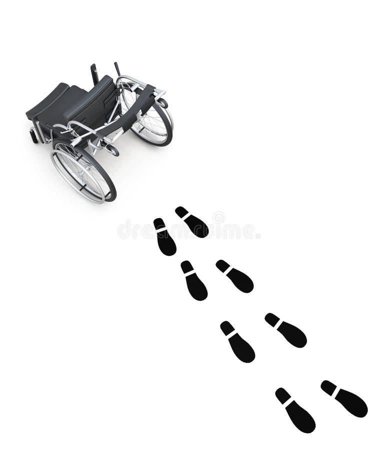 轮椅和脚印在白色背景 3d翻译 皇族释放例证