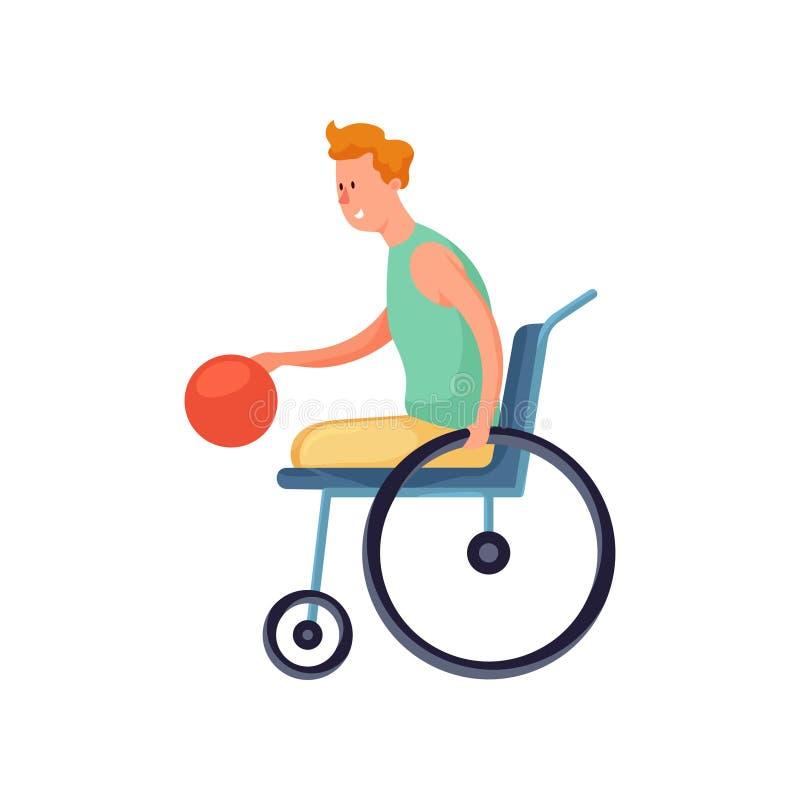 轮椅戏剧篮球的逗人喜爱的微笑的残疾男孩 向量例证