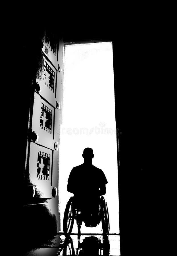 轮椅教会门剪影 免版税库存照片