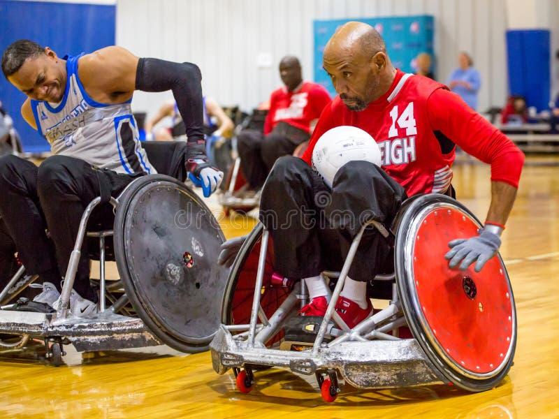 轮椅橄榄球比赛 免版税库存照片
