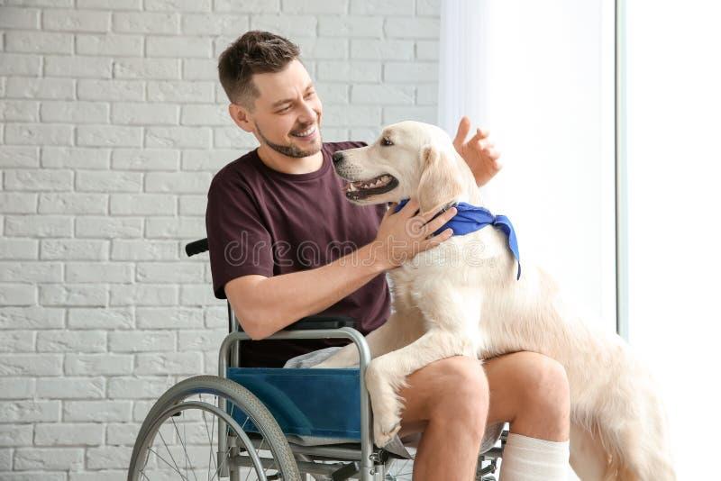 轮椅的人有服务狗的 免版税库存图片