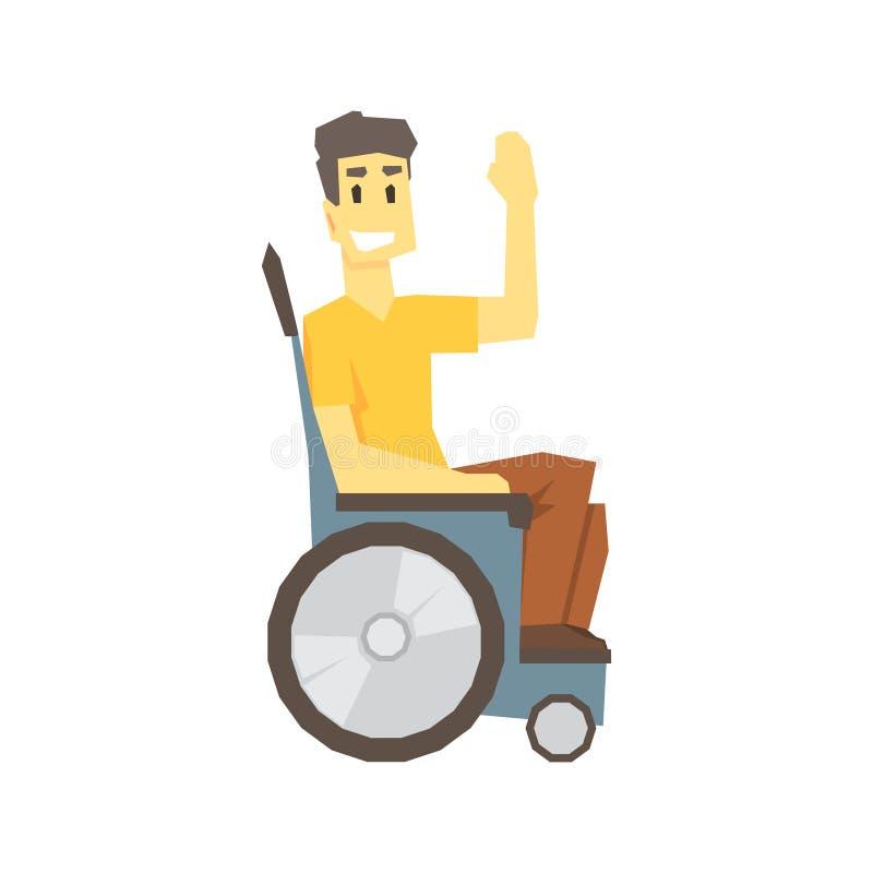 轮椅的人,有克服伤害的伤残的充分居住年轻的人活传染媒介例证 库存例证