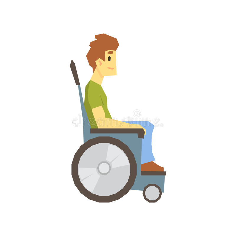 轮椅的人,有克服伤害的伤残的充分居住年轻的人活传染媒介例证 皇族释放例证