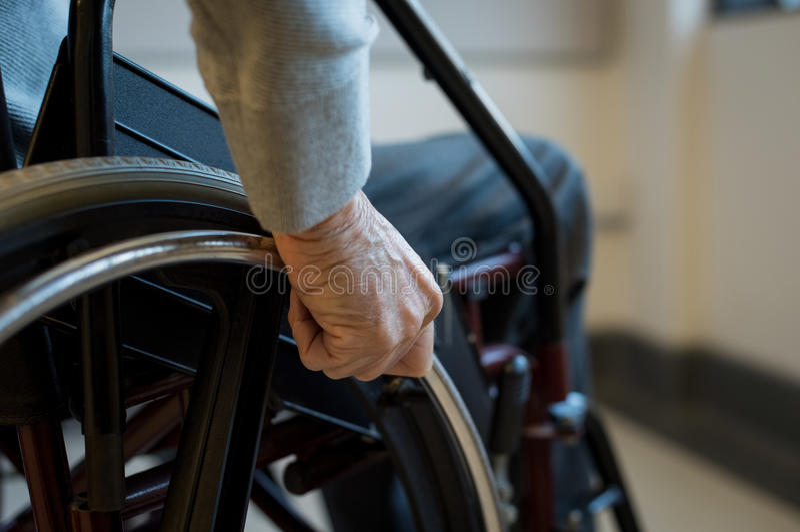 轮椅的前辈 库存图片