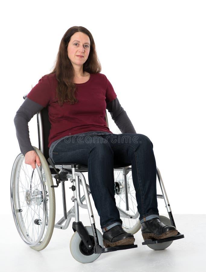 轮椅的少妇 图库摄影