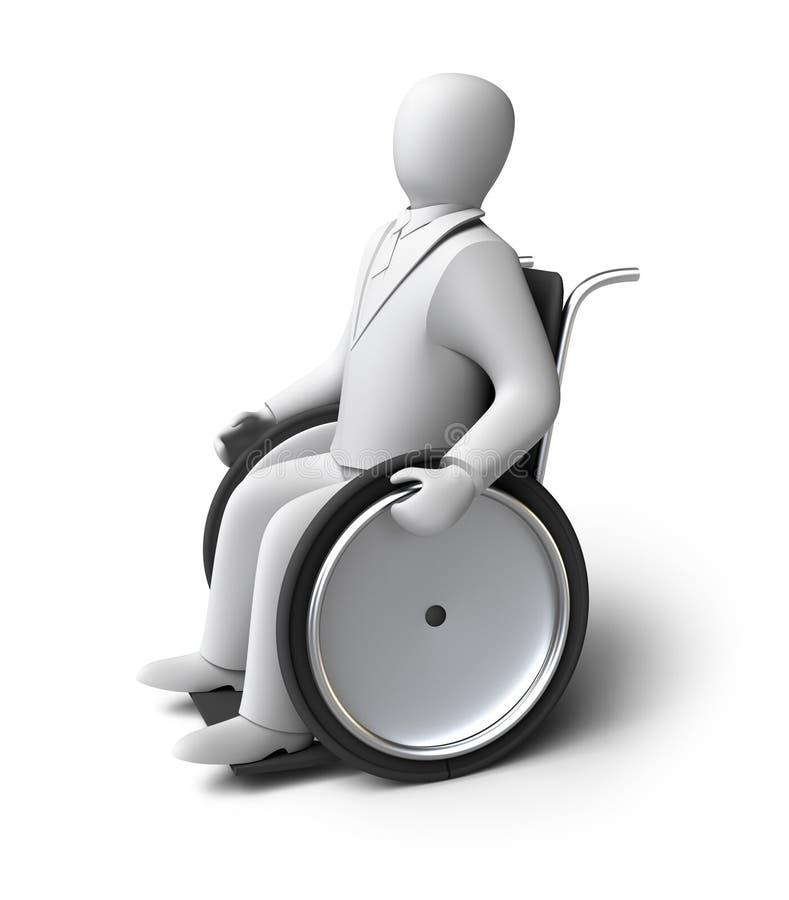 轮椅的残疾人。 查出在白色 库存例证