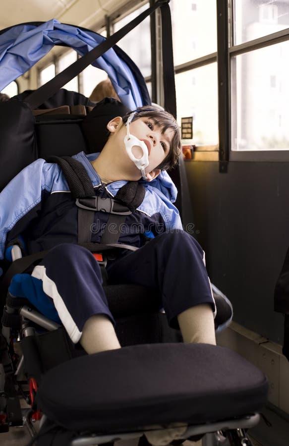 轮椅的残疾小男孩在校车 库存图片