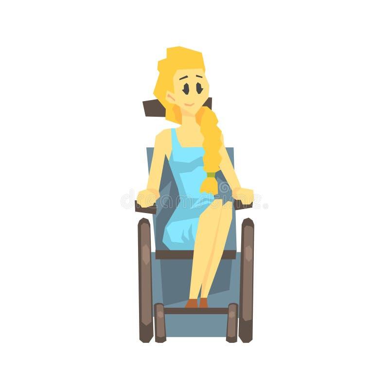 轮椅的逗人喜爱的女孩,有克服伤害的伤残的充分居住年轻的人活传染媒介例证 皇族释放例证