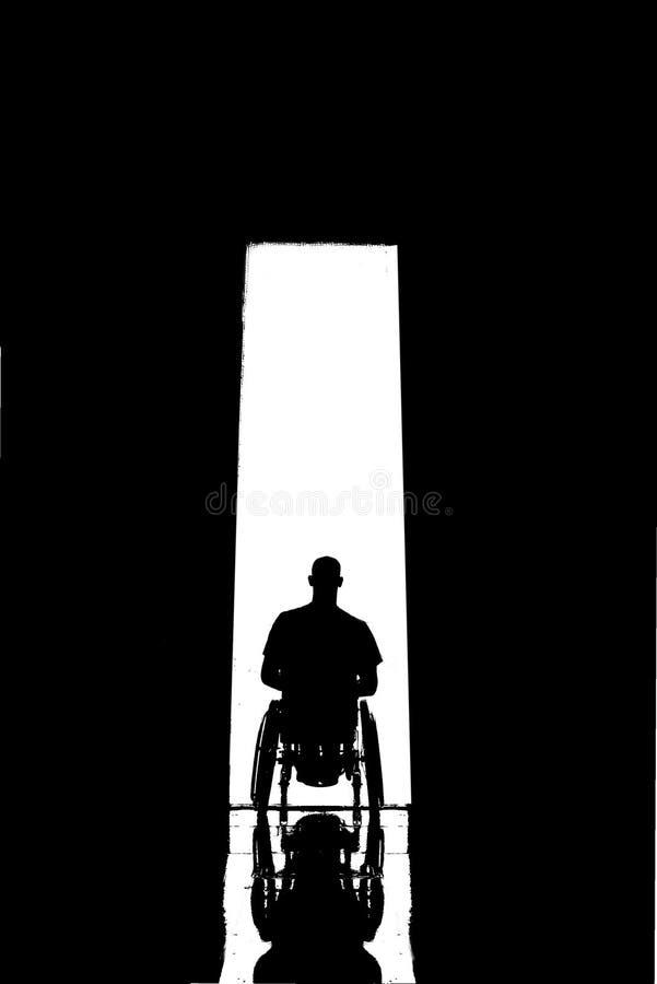 轮椅门剪影 库存照片