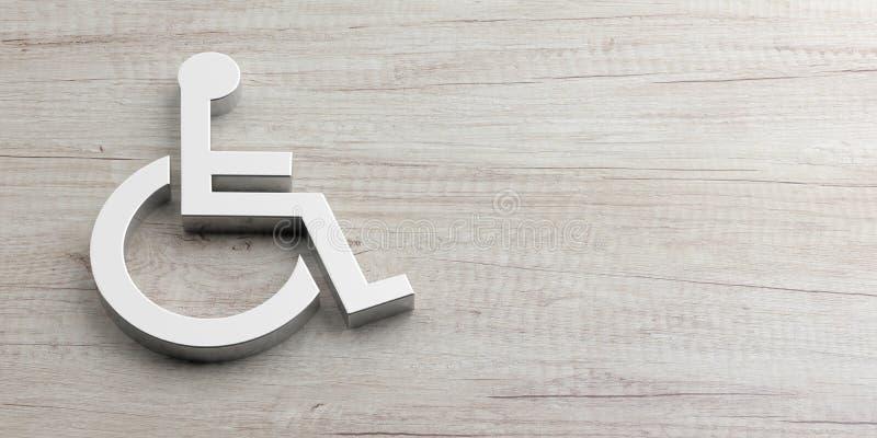 轮椅,在木背景隔绝的残疾标志,拷贝空间 3d例证 皇族释放例证