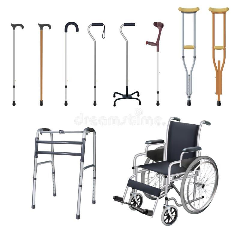 轮椅,藤茎,拐杖,步行者 套特别医疗辅助交通工具人的与 库存例证
