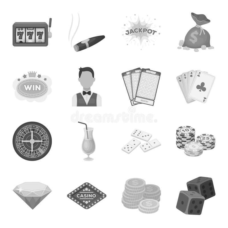 轮盘赌、卡片、副主持人,酒精和其他属性 赌博娱乐场和赌博的集合汇集象在单色样式 向量例证