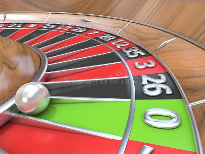 轮盘赌桌的宏观看法 绿色零 3d回报 库存例证