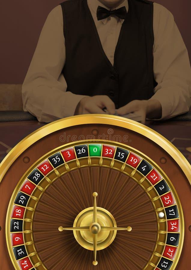 轮盘赌的赌轮和副主持人在赌博娱乐场 免版税库存照片