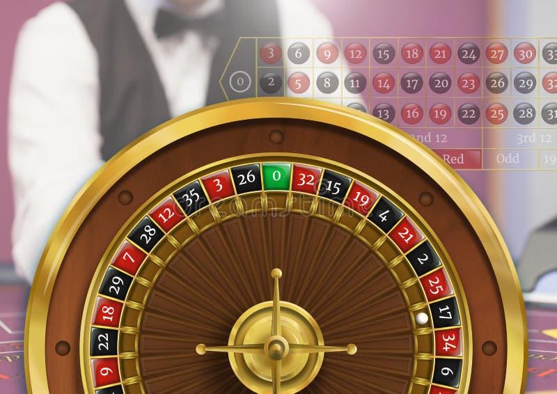 轮盘赌的赌轮和副主持人 图库摄影
