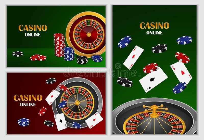 轮盘赌的赌轮比赛横幅集合,现实样式 皇族释放例证