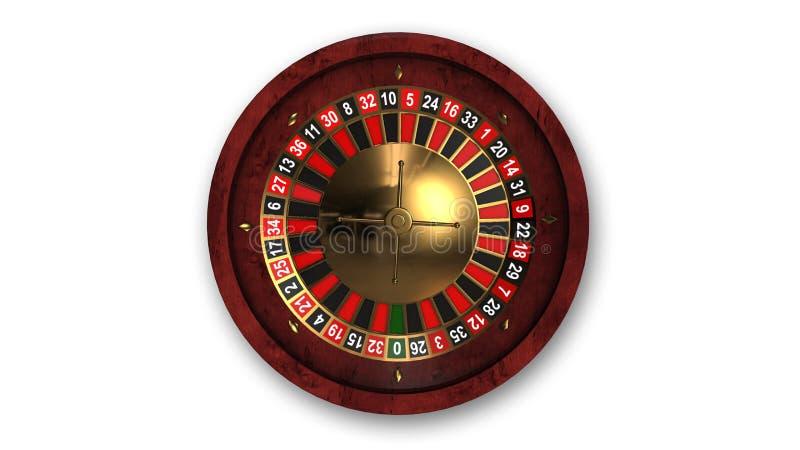 轮盘赌的赌轮,在白色,顶视图隔绝的赌博游戏 库存例证