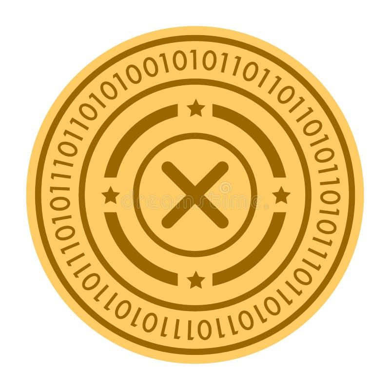 轮盘赌金黄数字式硬币传染媒介象 在白色隔绝的金黄色平的硬币cryptocurrency标志 10 eps 向量例证