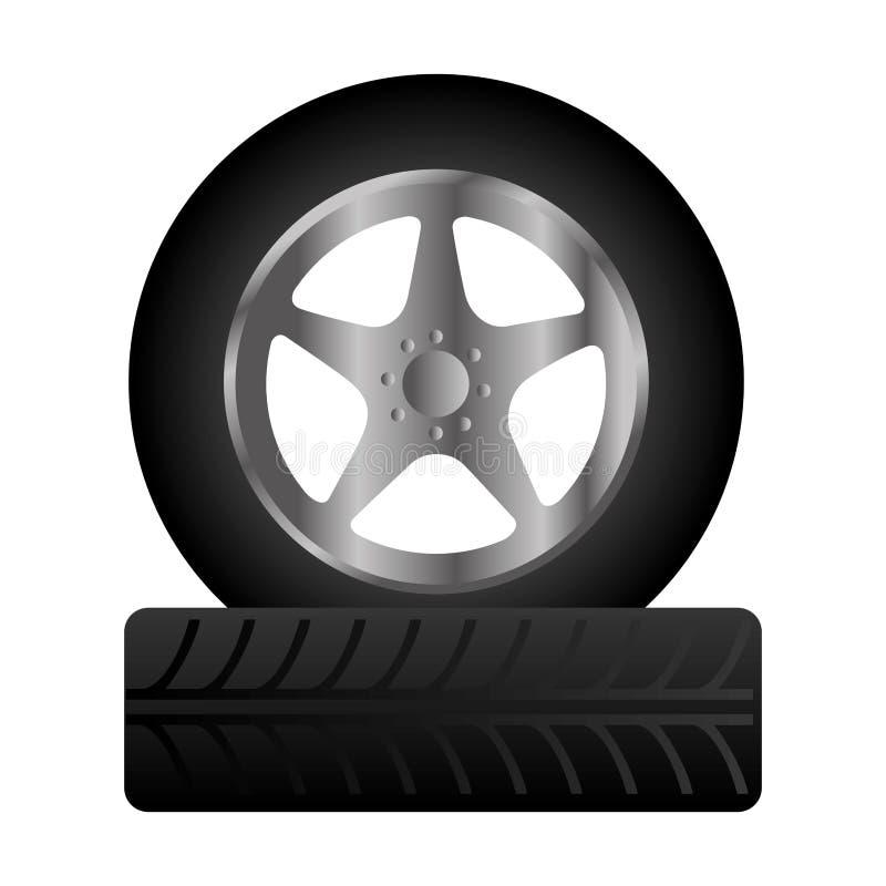 轮胎服务被隔绝的象 向量例证