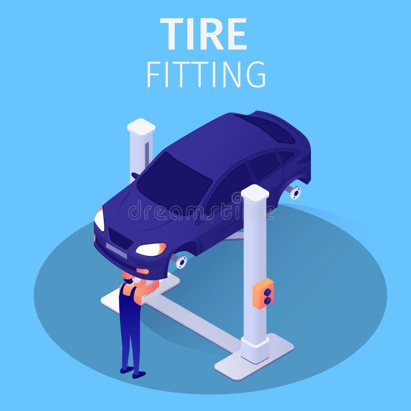 轮胎适合的过程在汽车修理服务中 向量例证