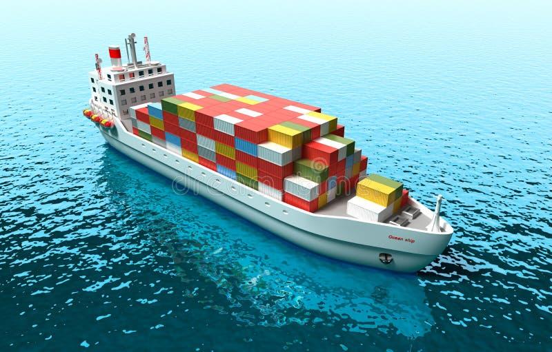 货轮 3D货船的例证在海 皇族释放例证