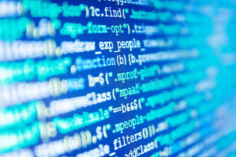 软件工程师在工作 网站编程的代码 事务和AI技术代表学习的过程 免版税库存图片