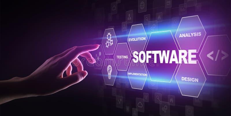 软件开发和商业运作自动化、互联网和技术概念在虚屏上 免版税库存图片