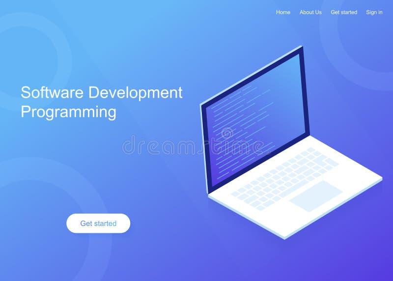 软件开发和编程,在膝上型计算机屏幕上的节目代码,大数据处理 例证现代向量 向量例证
