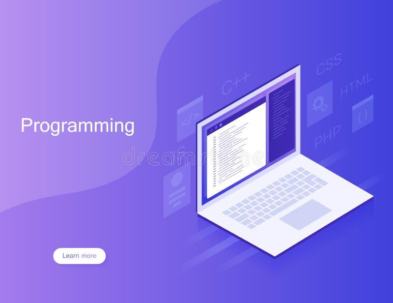 软件开发和编程,在膝上型计算机屏幕上的节目代码,大数据处理 例证现代向量 皇族释放例证
