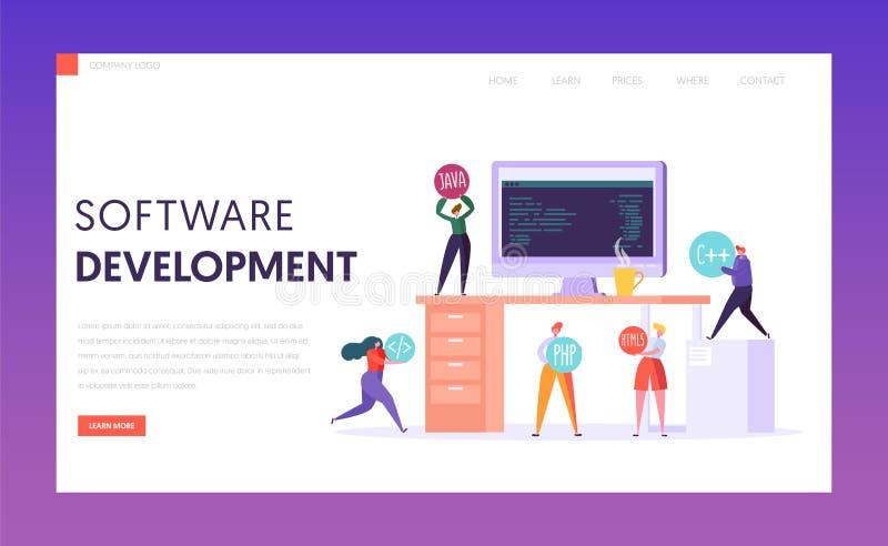 软件开发技术配合着陆页 在办公桌上的显示器 专业Webdesign自由职业者的队 库存例证