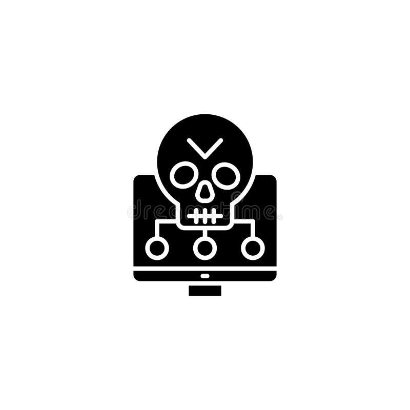 软件弱点黑象概念 软件弱点平的传染媒介标志,标志,例证 向量例证