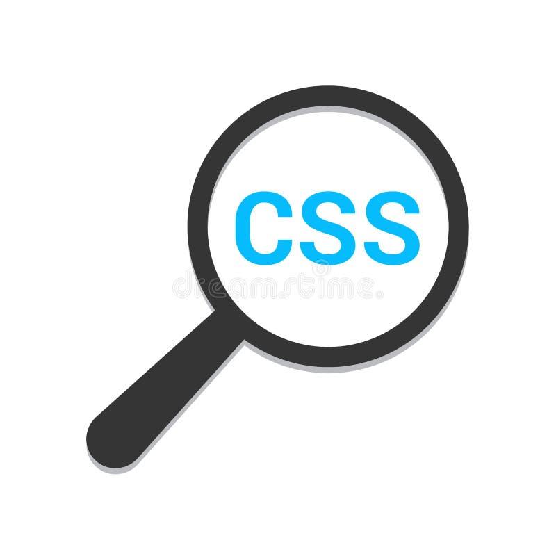 软件概念:与词Css的扩大化的光学玻璃 向量例证