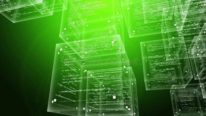 软件程序在绿色背景求立方 库存例证