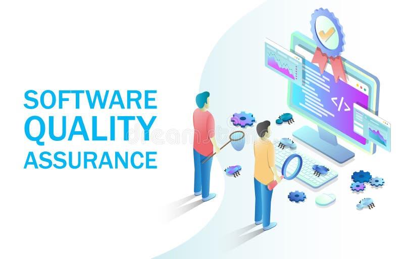 软件质量保证网横幅的,网站页传染媒介概念 向量例证