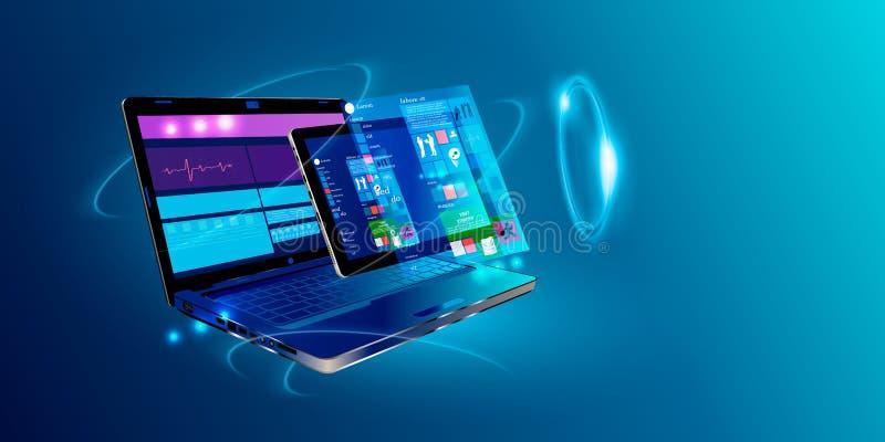 软件,网发展,编程的概念 在屏幕膝上型计算机的抽象编程语言和节目代码 膝上型计算机和象 向量例证