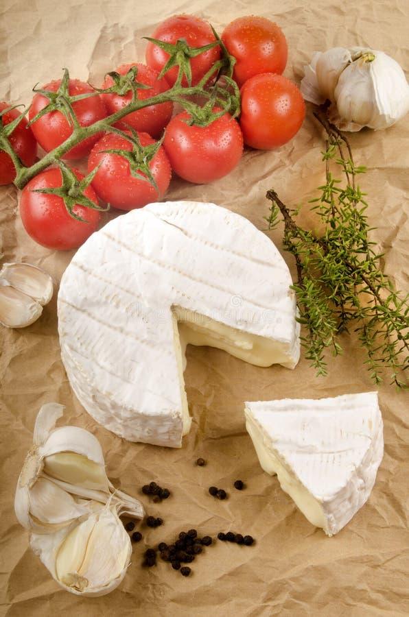 软制乳酪用大蒜、黑胡椒、蕃茄和麝香草在棕色p 免版税库存图片
