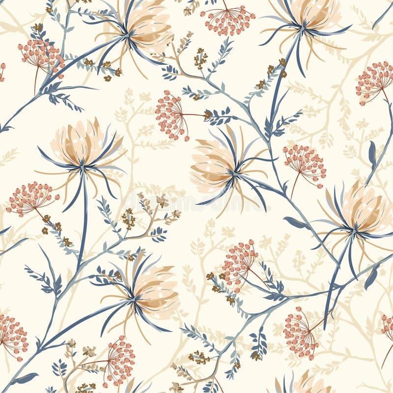 软和优美的东方开花的花的无缝的样式, 皇族释放例证