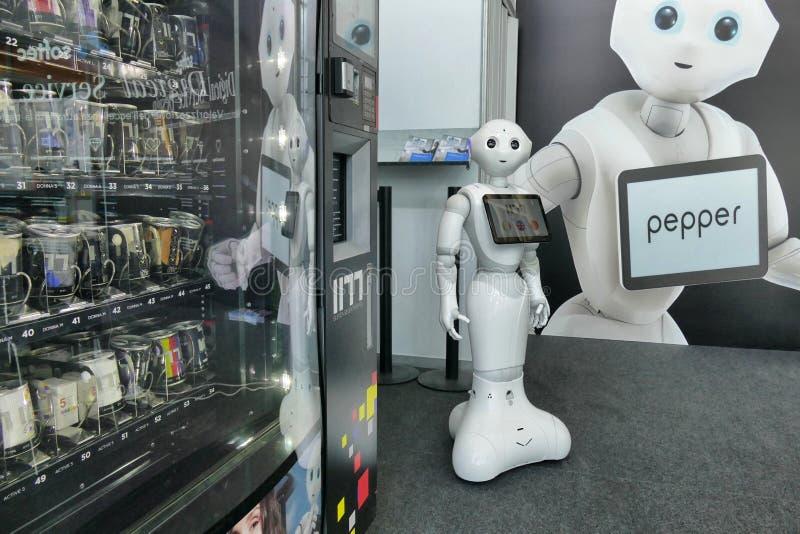 软库集团在公平的自动化的胡椒机器人 库存照片
