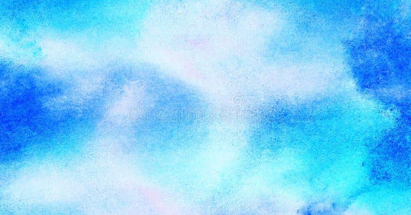 软性抹上了轻的天蓝色颜色水彩背景 水彩画绘了葡萄酒设计的,邀请加州纸织地不很细帆布 库存例证