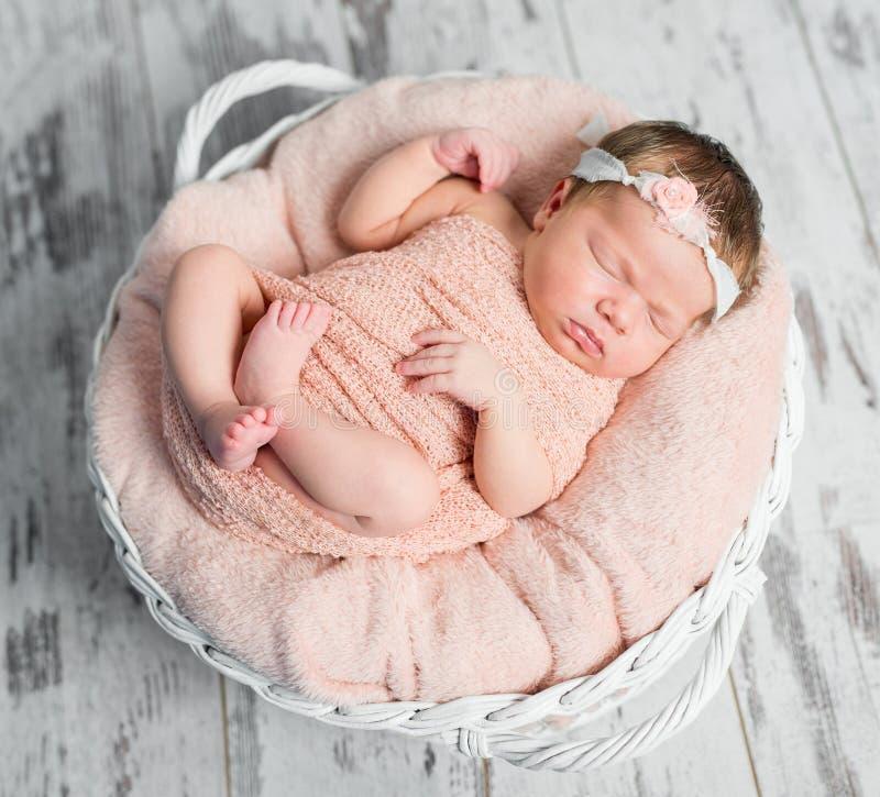 软的格子花呢披肩的甜困新出生的婴孩在篮子 免版税库存图片
