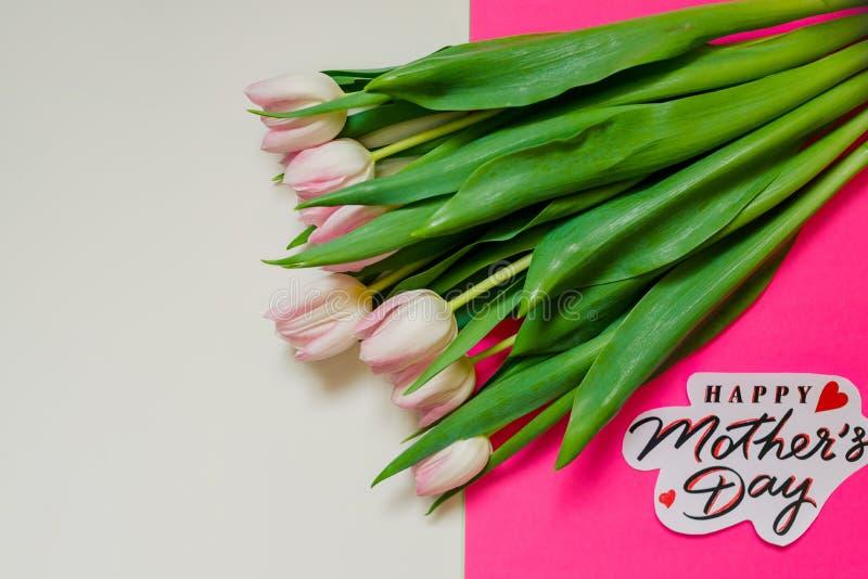 软的桃红色郁金香和贺卡与文本愉快的母亲节 郁金香和一个标志为母亲` s天 美丽的花束  库存图片
