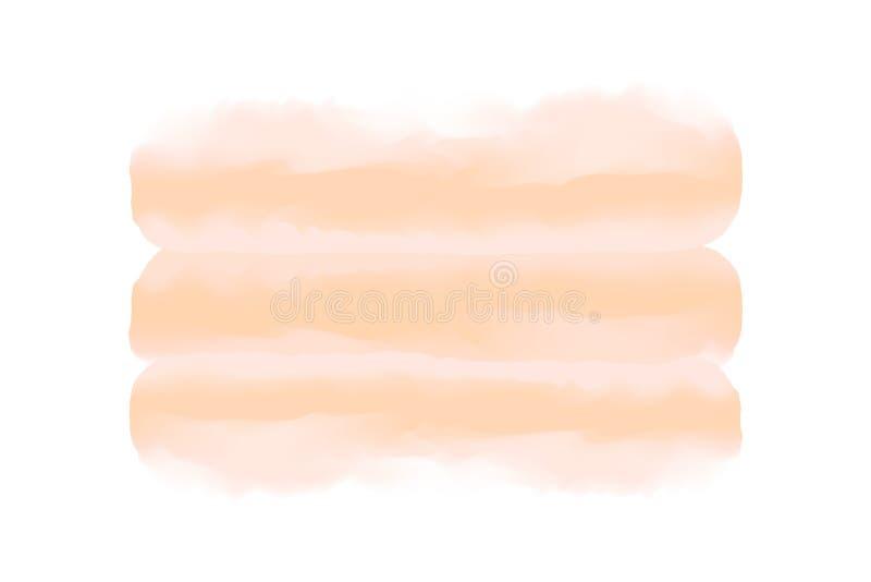软的棕色数字画笔冲程在概念手拉的样式水彩纹理白色背景,艺术水彩绘画中 向量例证