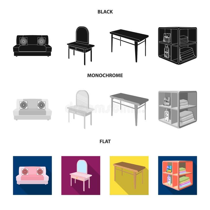 软的沙发,洗手间构成桌,餐桌,搁置为洗衣店和洗涤剂 家具和内部集合收藏 皇族释放例证