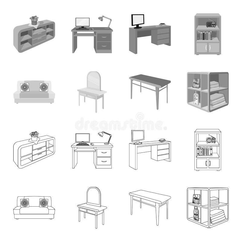软的沙发,洗手间构成桌,餐桌,搁置为洗衣店和洗涤剂 家具和内部集合收藏 库存例证