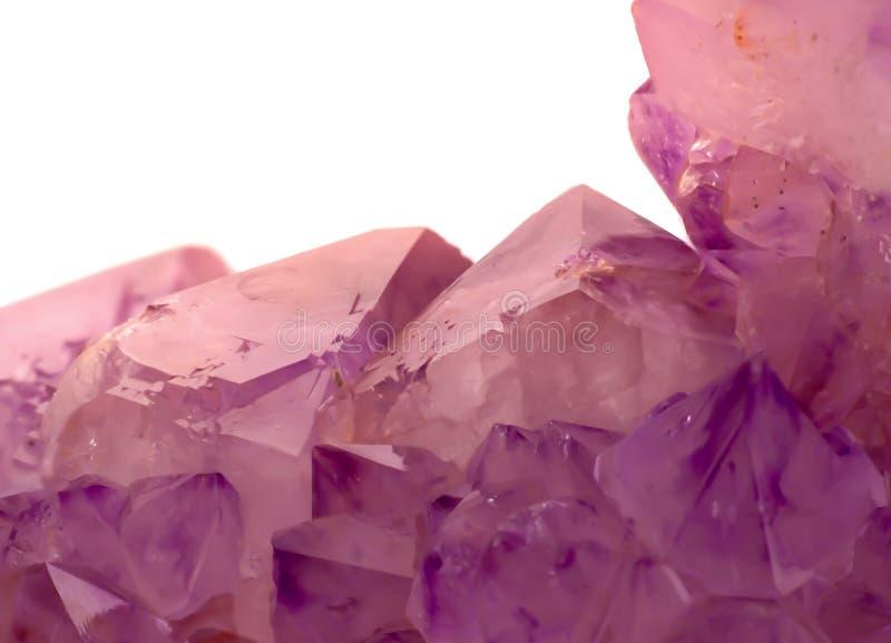 软的淡色紫晶水晶宏观照片  免版税库存图片